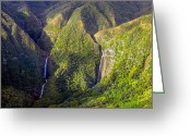 Hawaiian Greeting Cards - Molokai Hawaii Waterfalls Greeting Card by Scott McGuire