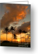 Molokai Greeting Cards - Molokai Hawaiian Sunset Greeting Card by Bob Christopher