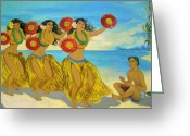 Murals Greeting Cards - Molokai Hula 2 Greeting Card by James Temple