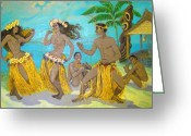 Murals Greeting Cards - Molokai Hula 3 Greeting Card by James Temple