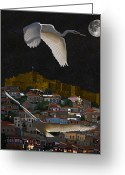 Greek Sculpture Greeting Cards - Molyvos Lesvos Egrets by moonlight Greeting Card by Eric Kempson