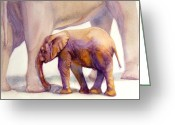Safari Park Greeting Cards - Mom and Baby Boy Elephants Greeting Card by Bonnie Rinier