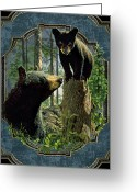 Woods Painting Greeting Cards - Mom and Cub Bear Greeting Card by JQ Licensing