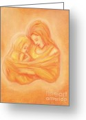 Orange Pastels Greeting Cards - Mommy and Me Greeting Card by Cassandra Geernaert