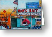 Crabbing Greeting Cards - Moms Bait Shop Greeting Card by Patti Schermerhorn