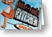 Neon Sign Greeting Cards - Moms Diner Greeting Card by Anthony Ross