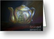 Tea Pastels Greeting Cards - Moms Teapot - Alice Greeting Card by AE Hansen