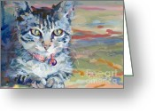 Gray Tabby Greeting Cards - Mona Lisa Greeting Card by Kimberly Santini