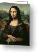 Panel Greeting Cards - Mona Lisa Greeting Card by Leonardo da Vinci