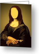 Retro Pastels Greeting Cards - Mona Lisa Greeting Card by Setsiri Silapasuwanchai