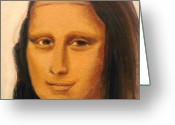Meeting Drawings Greeting Cards - MONA LISA  zoom of the face Greeting Card by Patty Meotti