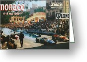 City Streets Greeting Cards - Monaco 1969 Greeting Card by Nomad Art And  Design