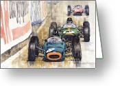 Retro Greeting Cards - Monaco GP 1964 BRM Brabham Ferrari Greeting Card by Yuriy  Shevchuk
