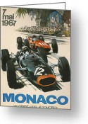 City Streets Greeting Cards - Monaco Grand Prix 1967 Greeting Card by Nomad Art And  Design
