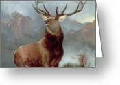 Oil Canvas Greeting Cards - Monarch of the Glen Greeting Card by Sir Edwin Landseer