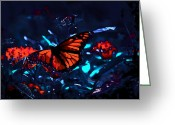 Silver Moonlight Greeting Cards - Monarch of the Night Greeting Card by DigiArt Diaries by Vicky Browning