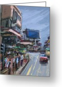 Hustle Bustle Greeting Cards - Monday in Hong Kong Greeting Card by Russell Pierce