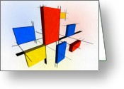 Yellow Line Greeting Cards - Mondrian 3D Greeting Card by Michael Tompsett