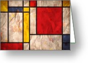 Square Digital Art Greeting Cards - Mondrian Inspired Greeting Card by Michael Tompsett
