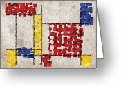 Square Digital Art Greeting Cards - Mondrian Inspired Squares Greeting Card by Michael Tompsett