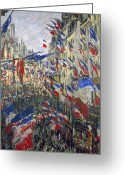Tricolor Greeting Cards - Monet: Montorgeuil, 1878 Greeting Card by Granger