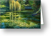 Row Boat Greeting Cards - Monet Water Lily Garden III Greeting Card by Elaine Farmer