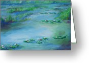 Schiabor Greeting Cards - Monet WaterLilies 4 Greeting Card by Eric  Schiabor