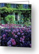 Nature Photographs Greeting Cards - Monets House with Tulips Greeting Card by Kathy Yates