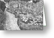 Pads Drawings Greeting Cards - Monets Paradise Greeting Card by Thomas  Ferguson