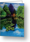 Lilly Pads Greeting Cards - Monets Pond at Giverny Greeting Card by Sheila Maida