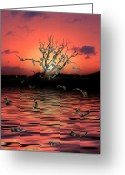 Sunrise Mixed Media Greeting Cards - Money Tree Sunset Greeting Card by Gravityx Designs