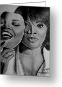 Two-faced Greeting Cards - MoNique Drawing Greeting Card by Keeyonardo