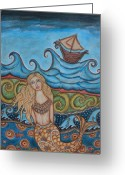 Fish Art Pastels Greeting Cards - Monique Mermaid Greeting Card by Rain Ririn