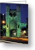Historic Street Greeting Cards - Monk Bar Gate Lit At Night In England Greeting Card by Richard Nowitz