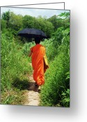 Adults Only Greeting Cards - Monk Walking, Luang Prabang, Laos Greeting Card by Thepurpledoor