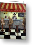 Parlor Greeting Cards - Monkey Business Greeting Card by Leah Saulnier The Painting Maniac