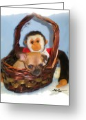 Teacup Digital Art Greeting Cards - Monkey see puppy do Greeting Card by Beverly Johnson