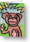 Banana Drawings Greeting Cards - Monkey With A Banana Greeting Card by Jera Sky