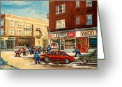 Store Fronts Greeting Cards - Monkland Street Hockey Game Montreal Urban Scene Greeting Card by Carole Spandau