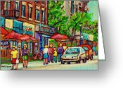 Store Fronts Greeting Cards - Monkland Tavern Corner Old Orchard Montreal Street Scene Painting Greeting Card by Carole Spandau