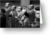 Monastery Greeting Cards - Monks chanting - Jingan Temple Shanghai Greeting Card by Christine Till - CT-Graphics