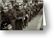Burma Greeting Cards - Monks in the monastery Greeting Card by RicardMN Photography
