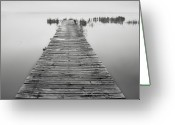 Horizon Over Water Greeting Cards - Mono Jetty With Sandals Greeting Card by Billy Currie Photography