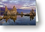 Purple Clouds Greeting Cards - Mono Lake Sunset Greeting Card by Dave Dilli