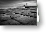 Guidance Greeting Cards - Mono Shot Of Northumbrian Lighthouse Greeting Card by Billy Currie Photography