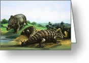 Dinosaurs Greeting Cards - Monoclonius and Scolosaurus Greeting Card by English School