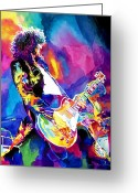 Hero Greeting Cards - Monolithic Riff - Jimmy Page Greeting Card by David Lloyd Glover
