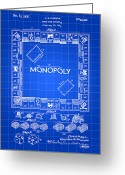 Game Greeting Cards - Monopoly Patent Greeting Card by Stephen Younts