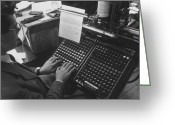 Typewriter Greeting Cards - Monotypist Greeting Card by Kurt Hutton