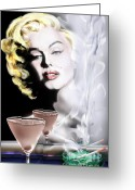 Marilyn Monroe Singer Greeting Cards - Monroe-Seeing Beyond Smoke-N-Mirrors Greeting Card by Reggie Duffie